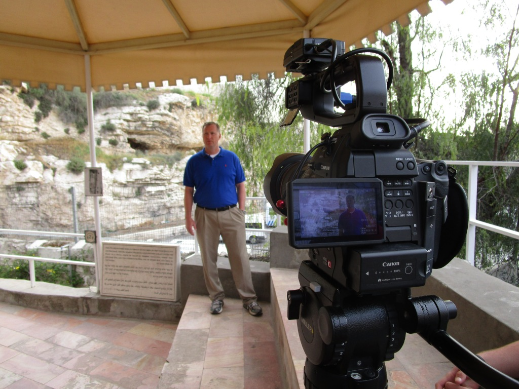 Jon filming near the Garden Tomb - one of his and Gary's videos will be about the death. burial and resurrection of Jesus.
