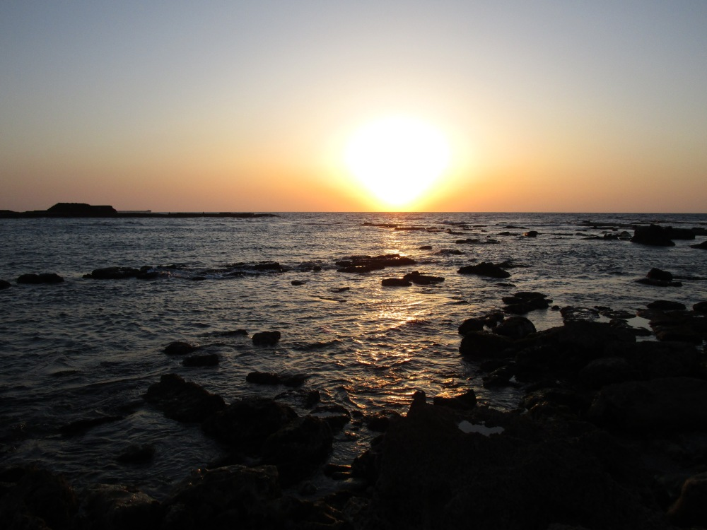 Beautiful sunset over the Mediterranean from Caesarea - can you imagine yourself here on April 5, 2016?